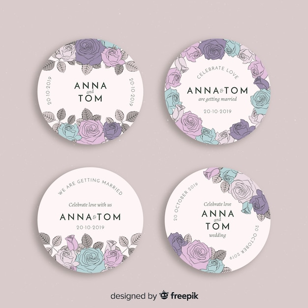 Hand drawn floral wedding badges collection Premium Vector