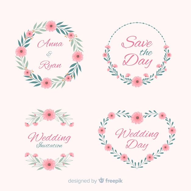 Hand drawn floral wedding badges collection Free Vector