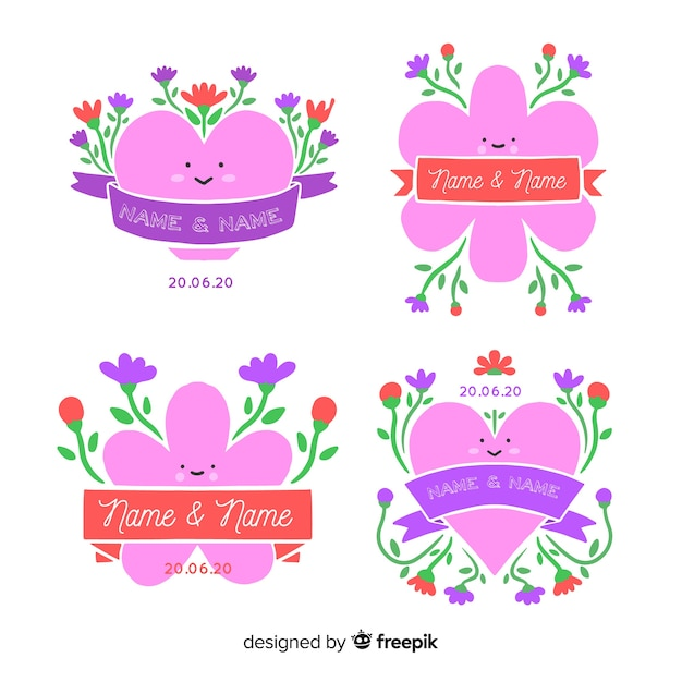 Hand drawn floral wedding badges set Free Vector