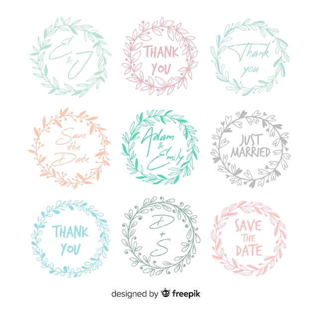 Hand drawn floral wedding badges Free Vector