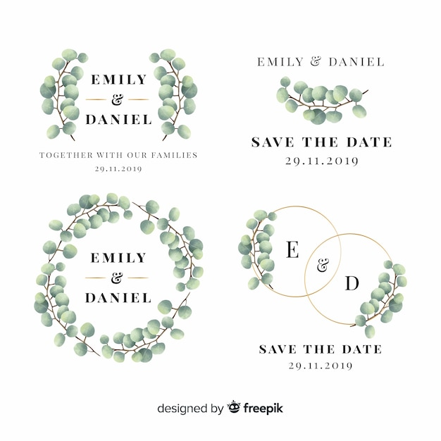 Hand drawn floral wedding badges Free Vector