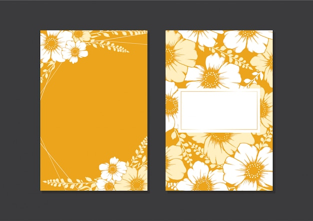Hand Drawn Floral Wedding Card Template Gold Card Of Empty Frames