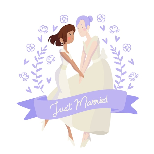 Hand drawn floral wedding couples Free Vector