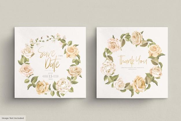 손으로 그린 꽃 결혼식 초대 카드 세트 무료 벡터