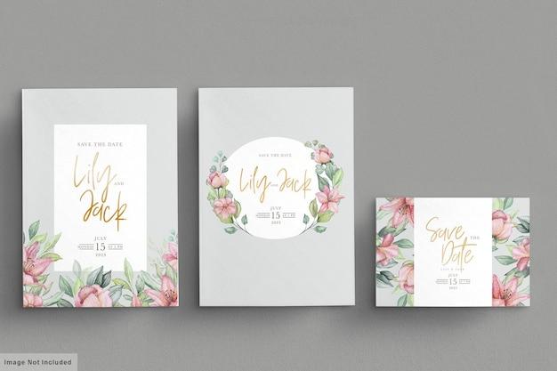 Set di carte invito matrimonio floreale disegnato a mano Vettore gratuito