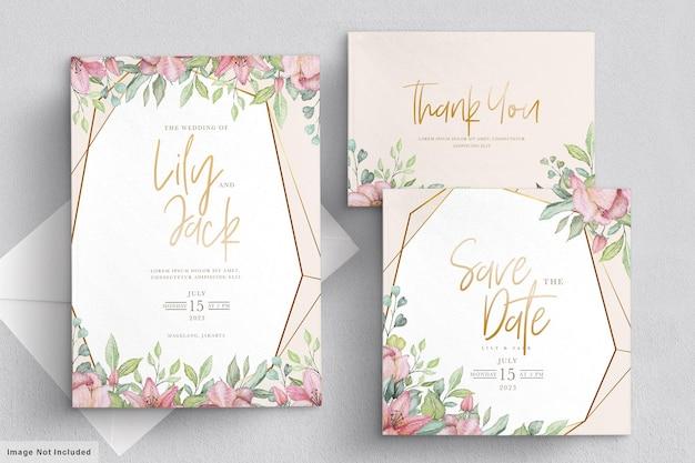 Набор рисованной цветочные свадебные приглашения Бесплатные векторы