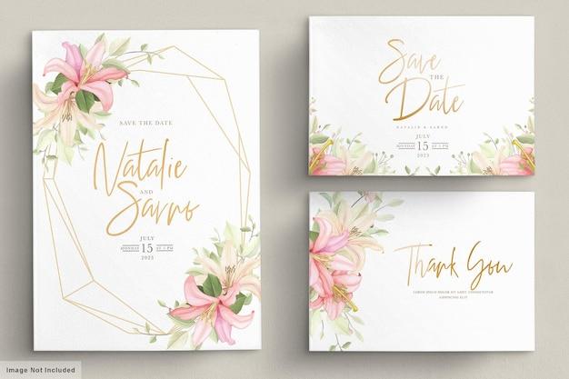 手描き花の結婚式の招待カードセット 無料ベクター