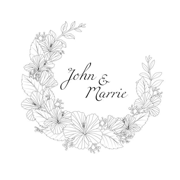 손으로 그린 꽃 결혼식 초대 카드 샘플 텍스트 프리미엄 벡터