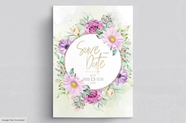 手描きの花の結婚式の招待カード 無料ベクター