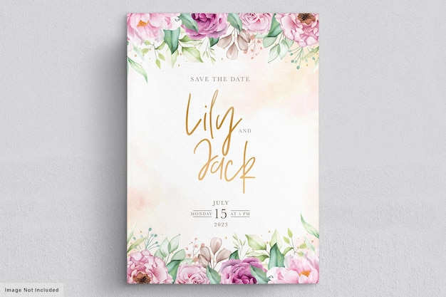 Hand drawn floral wedding invitation card Free Vector