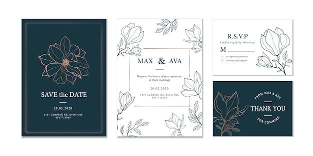 Ручной обращается цветочные свадебные приглашения Premium векторы
