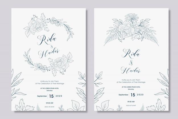 Hand drawn floral wedding invitation design Premium Vector