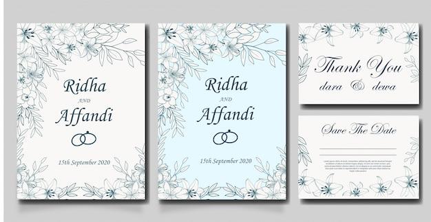 Hand drawn floral wedding invitations design Premium Vector