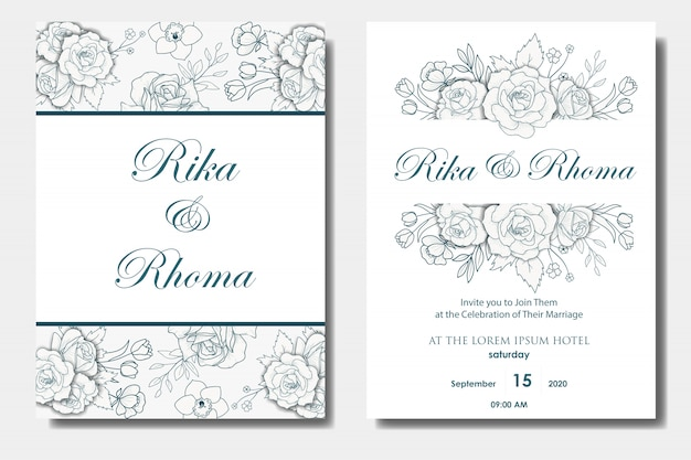 Hand drawn floral wedding invitations design Premium Vector