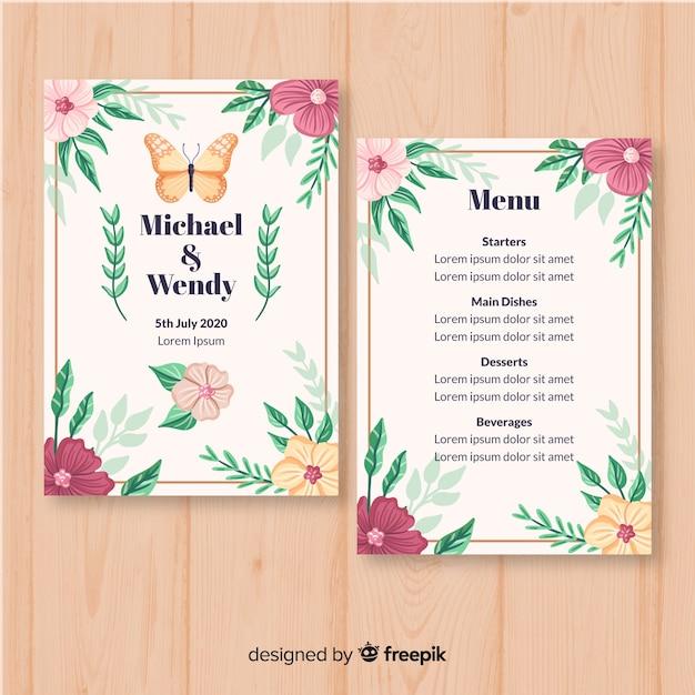 Hand drawn floral wedding menu template Free Vector