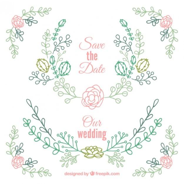 Hand drawn floral wedding ornaments with cactus Vector