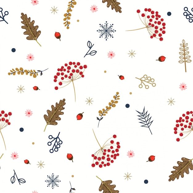 Hand drawn floral winter seamless pattern with christmas leaves and berries. Premium Vector