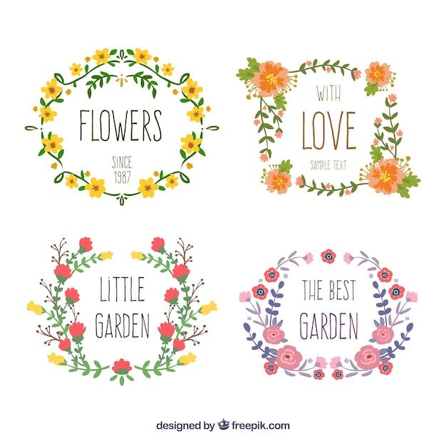 手描き花のリース 無料のベクター