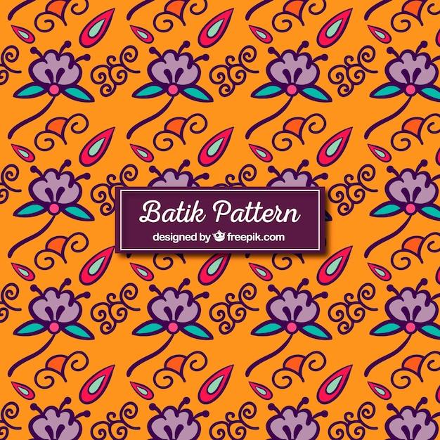 Hand Drawn Flower Batik Pattern Vector