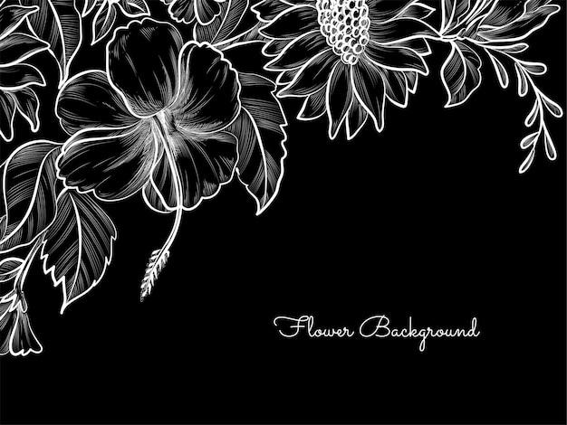 暗い背景に手描きの花のデザイン 無料ベクター