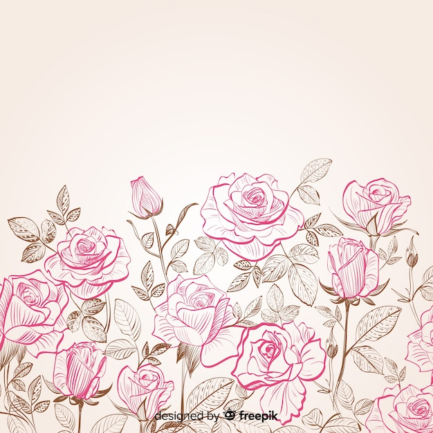 Hand drawn flower and leaves background Free Vector