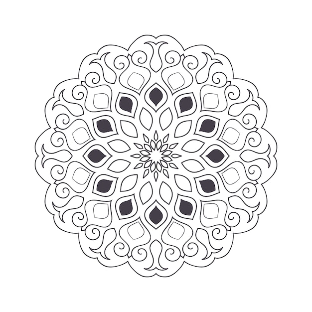 塗り絵の手描き花曼荼羅。黒と白の民族のヘナ柄。インド、アジア、アラビア、イスラム、オットマン、モロッコのモチーフ。 Premiumベクター