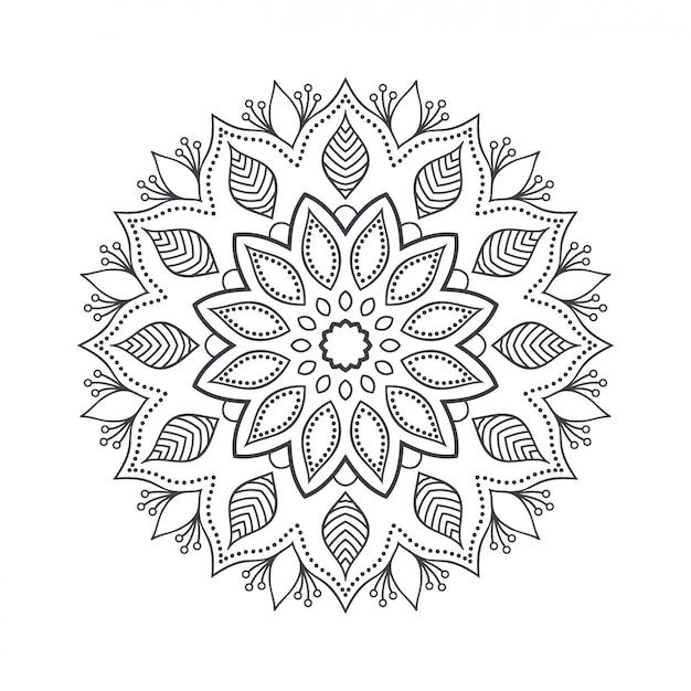 Ручной обращается цветок мандалы для раскраски. Premium векторы