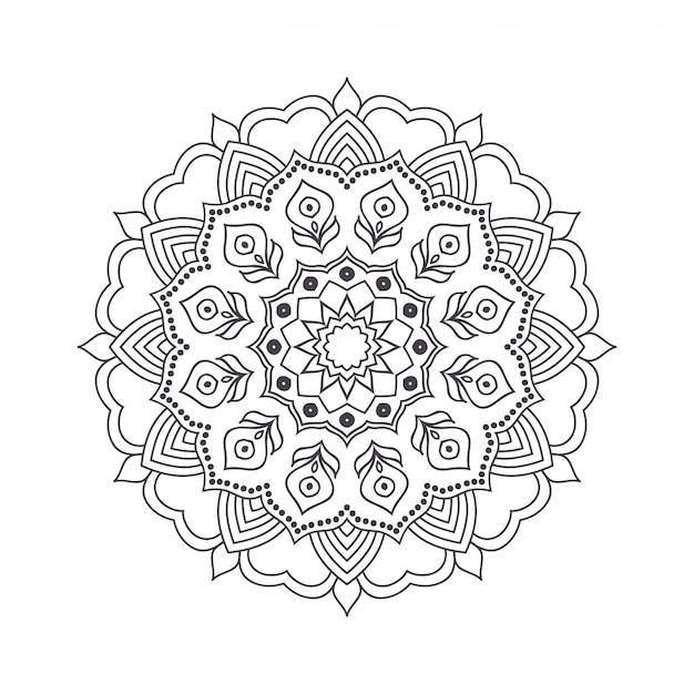 색칠하기 책에 대 한 손으로 그린 꽃 만다라. 프리미엄 벡터
