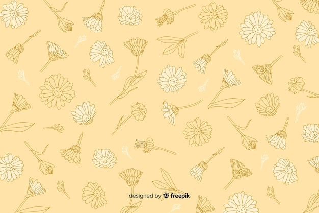 Hand drawn flower on pastel background Free Vector