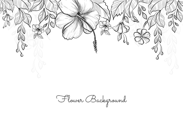 Hand drawn flower sketch style design background Free Vector