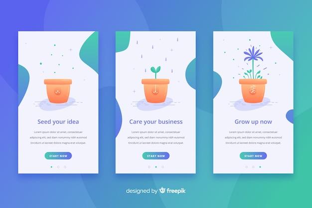 Hand drawn flowerpot mobile app banner template Free Vector
