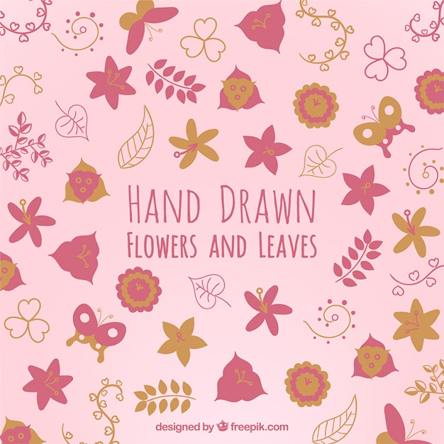 Hand drawn flowers and leaves in pink\ color