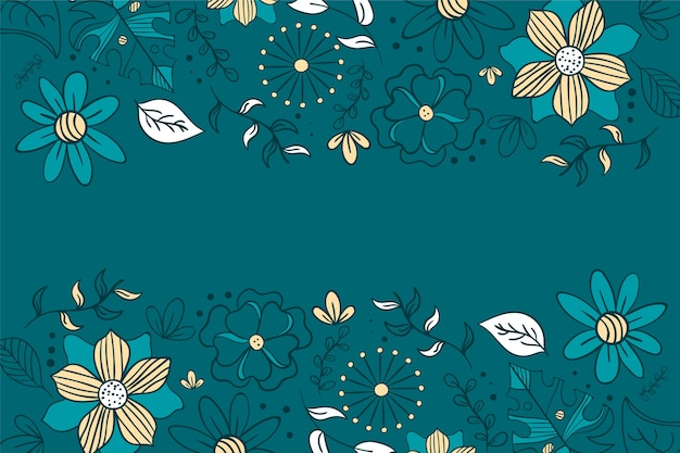 Hand drawn flowers background Free Vector