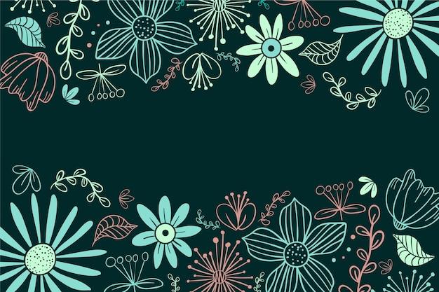 Hand drawn flowers on blackboard background Free Vector
