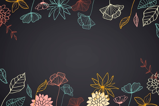 Hand drawn flowers on blackboard background Free Vector