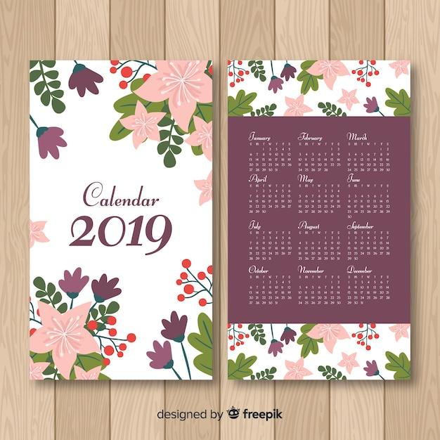 Hand drawn flowers calendar template Free Vector