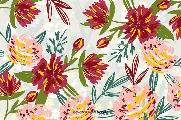 Hand-drawn flowers collection background Free Vector