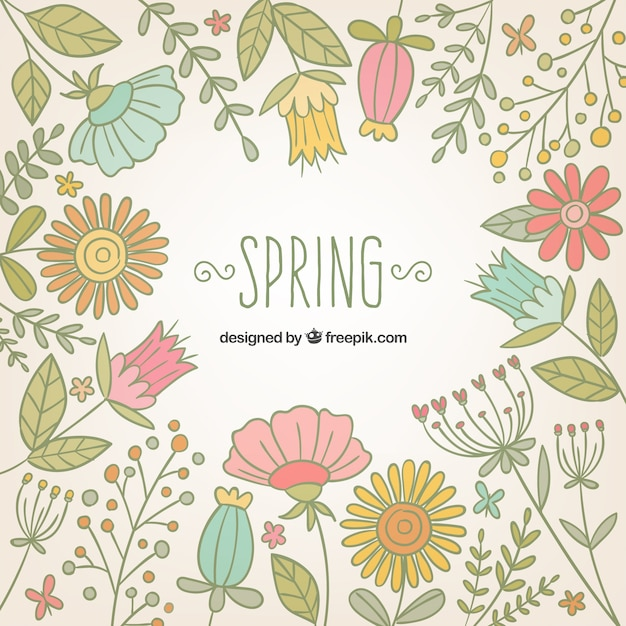 Hand Drawn Flowers Cute Spring Background Premium Vector