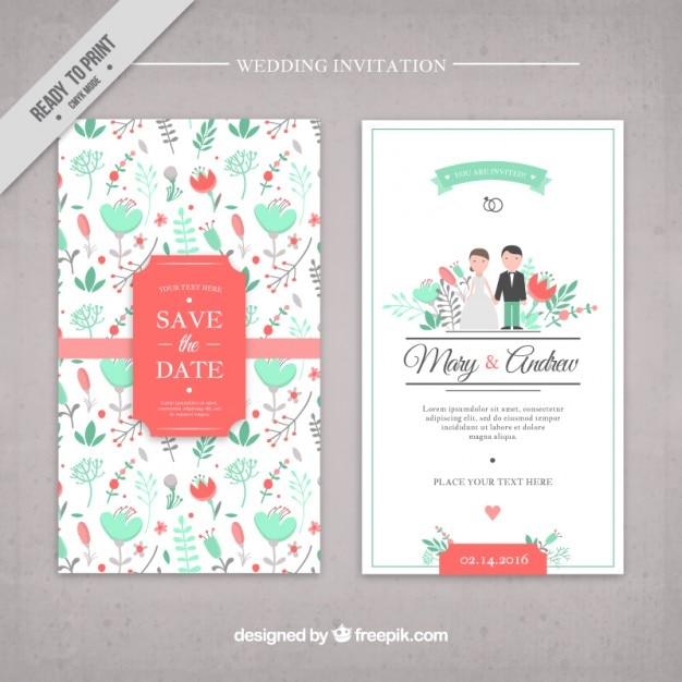 hand drawn flowers cute wedding invitation vector | free download, Wedding invitations