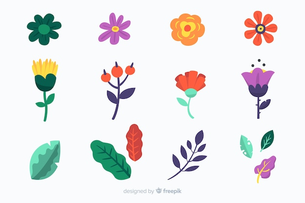Hand drawn flowers and leaves pack Free Vector