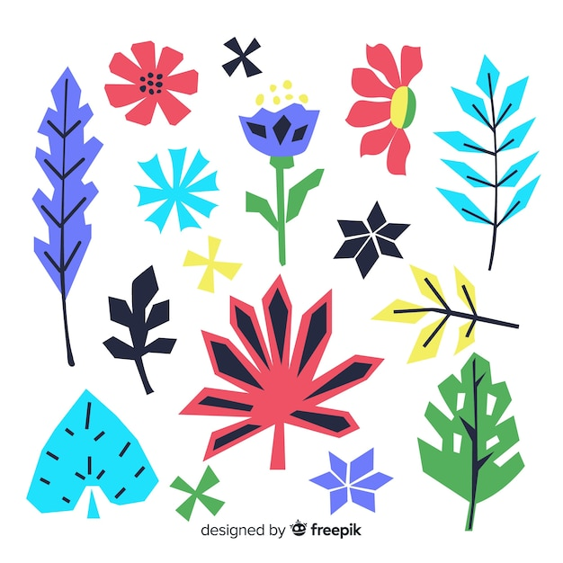 Hand drawn flowers and leaves set Free Vector