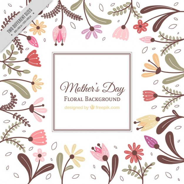 Hand drawn flowers mother's day backdrop Vector | Free Download