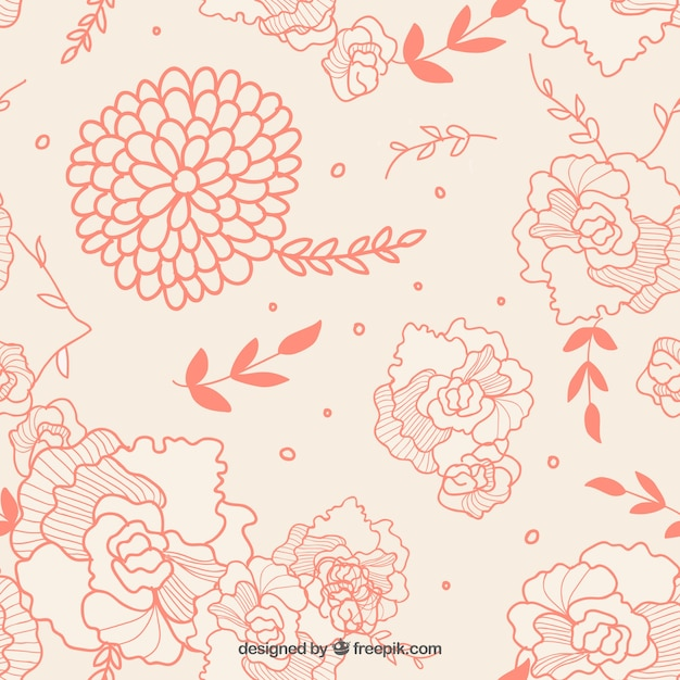Hand drawn flowers over pink background