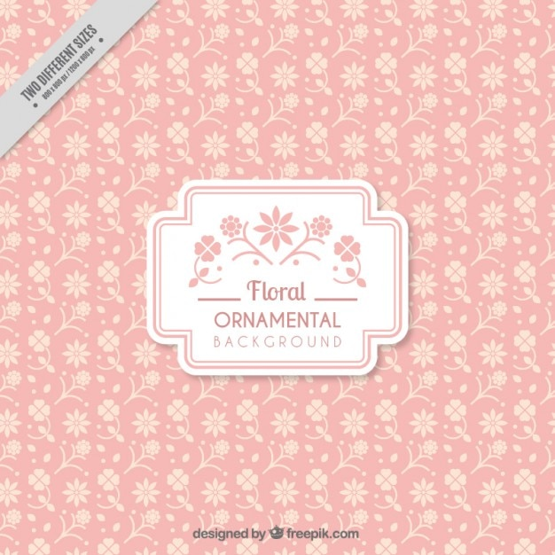 Hand drawn flowers pink background