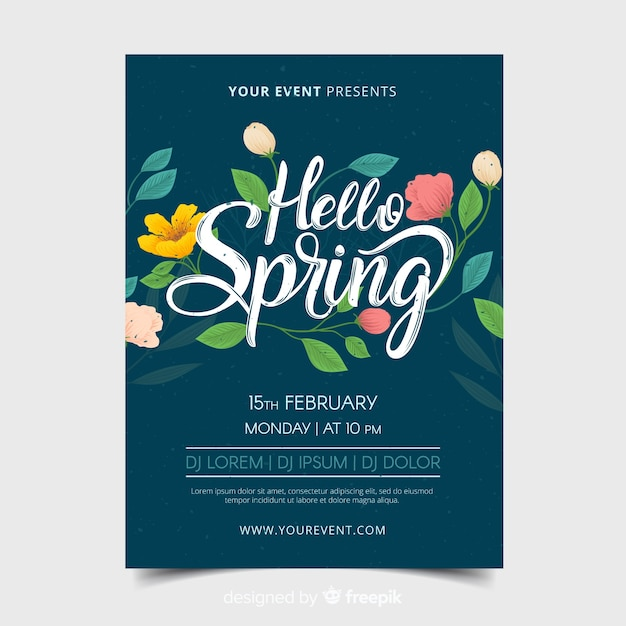 Hand drawn flowers spring party poster Free Vector
