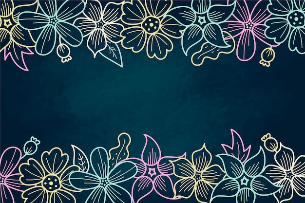 Hand drawn flowers with copy space background Free Vector