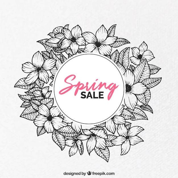Hand drawn flowery spring sale Premium Vector