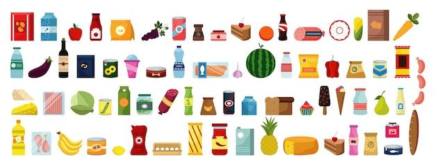 手描きの食べ物や飲み物の落書きセット。カラフルな漫画スタイルの図面のコレクションは、白い背景に生の食事果物野菜のスケッチテンプレートをスケッチします。健康的な栄養ジャンクフードのイラスト。 Premiumベクター