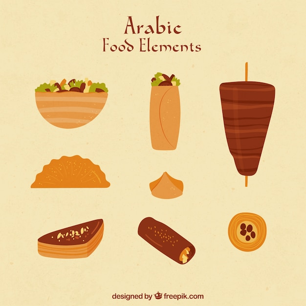 Hand drawn food in arabic style Free Vector