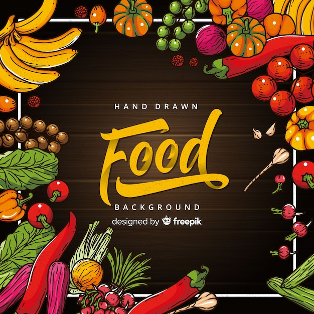 Hand drawn food background Free Vector